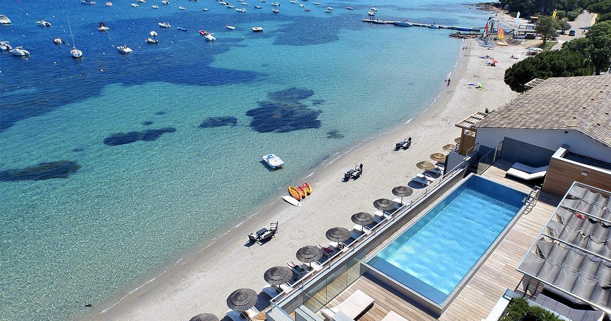 vue aérienne hôtel Le Pinarello Corse du Sud